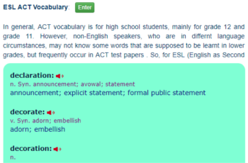 ESL ACT Vocabulary