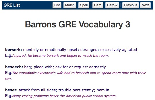 Barrons GRE Vocabulary